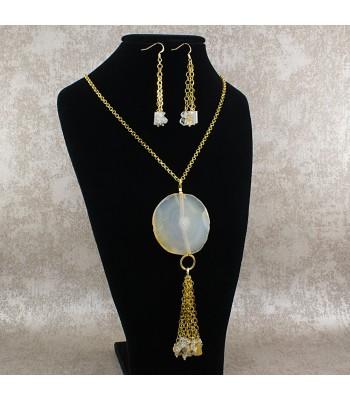 Collar Mujer Medallon Piedra Natural Agata y Cuarzo