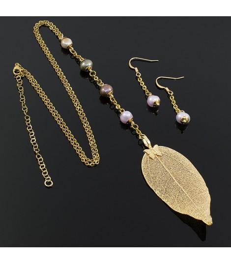 Collar Mujer Hoja Perlas Cultivadas Oro Goldfilled