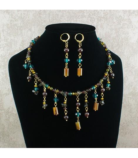 Collar mujer perla y cuarzos fluorita amatista citrino