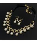 Collar Racimo Perlas y Cristales