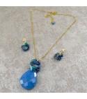 Collar Mujer Piedras Naturales Cuarzo Lapislazuli y Turquesa
