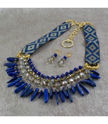 Collar Tribal Azul Ultramar Lapislazuli